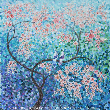 "large blue painting CHERRY BLOSSOM 64""x64"" Love birds Original Acrylic landscape on canvas Ready to ship large wall art unstretched canvas"