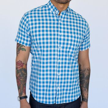Blue & White Gingham Short Sleeve Shirt - GRAHAM