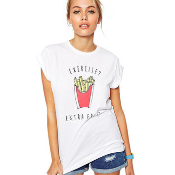 Exercise / Extra Fries Graphic Print T-Shirt in White