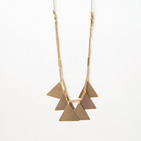 Geometric Necklace : Brass Triangle Necklace on a Chain