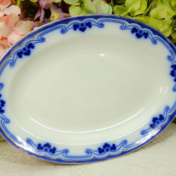 Beautiful Grindley Dark Flow Blue Serving Platter ~ Idris ~ Clover ~ Gold