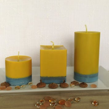 Sunshine yellow and gray soy pillar candles, scented square soy candles, yellow and gray soy pillar candles