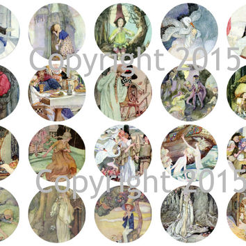 """Printed Vintage Victorian  Anne Anderson Fairy Tale Images 1 3/4"""" Circles Collage Sheet"""