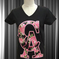 california CA new design on a black women v neck.