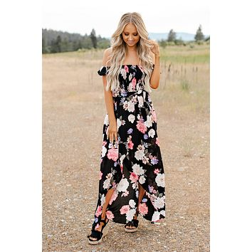 Vacation Spot Floral Maxi Dress (Black)