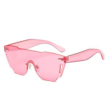 Candy Color Rimmies Rimless Shield Sunglasses