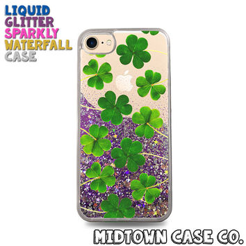 Green Shamrock Pattern Clover Irish Cute Pretty Liquid Glitter Waterfall Quicksand Sparkles Glitter Bomb Bling Case for iPhone 7 7 Plus 6s 6
