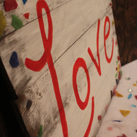 DISCOUNT- Love Sign with Broken Mosaic Pieces, Wood Love Wall Sign, Planked Wood