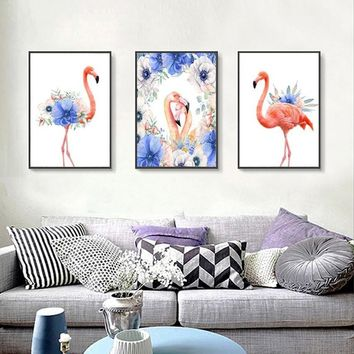SURE LIFE Nordic Animals Flamingo Purple Flower Canvas Paintings Watercolor Poster Print Wall Art Pictures For Living Room Decor