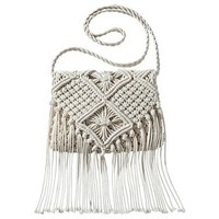 Mossimo Supply Co. Weave Crossbody Handbag with Fringe - Ivory