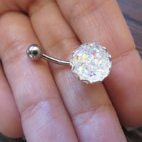 Icy Rainbow White Druzy Crystal Cluster Geode Belly Button Ring