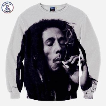 Mr.1991INC Hip Hop hoodies for men 3d sweatshirts funny print Bob Marley smoking casual tops slim long sleeve pullover hoodies