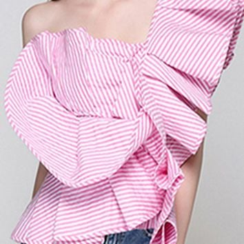 Burst On Scene Ruffle Pattern One Shoulder Blouse Top - 4 Colors Available