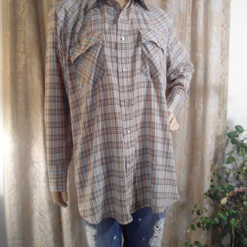 Mens Levi's Size Large Pearl Button Plaid Vintage Shirt Western Wear Cowboy Shirt Cowgirl Shirt Long Sleeve  Green Brown Black Yellow White