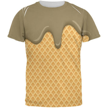 Melting Chocolate Ice Cream Cone All Over Mens T Shirt