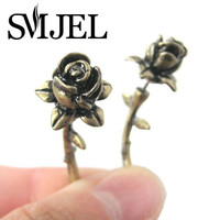 Antique Silver and Bronze Fake Gauge Earrings Detailed Rose Floral Flower Plug Earrings S89