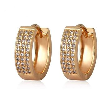 3 Rows of Clear Cz Tones Huggies Earrings 18Kts of Gold Plated