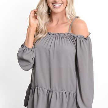 Charcoal Off Shoulder Babydoll Blouse