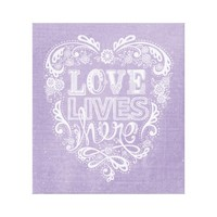 """Love Lives Here"" Hand-Drawn/Distressed Lavender"