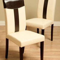 Tiffany Leather Oak/ Black Dining Chair Set