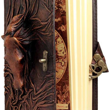 Horse Head Embossed Brown Leather Refillable Journal with Metal Lock Pocket Diary Leatherbound  Notepad