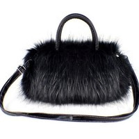 Gaorui New Top Fashion Fluffy Faux Fur Women lady Shoulder mini messenger Bag HandBag_Black