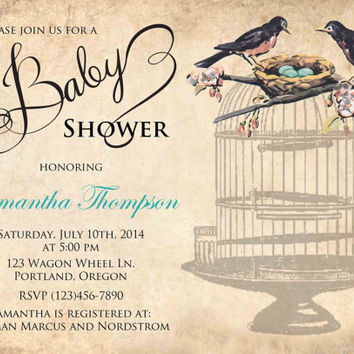 Baby shower Birds nest invitation teal custom printable vintage DIY