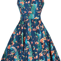 Tea Dress - Peacock Print