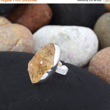 SaleHandmadeJewelry 925 Silver Jewelry Rings With Crystal Gemstone // Delicate Rough Crystal Ring // Personalized Crystal Gemstone Jewelry /