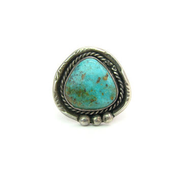 Navajo Turquoise Ring.  Native American Jewelry. Handmade Sterling Silver. Rope, Engraved. Vintage 1960s Gemstone Statement Jewelry. Size 7