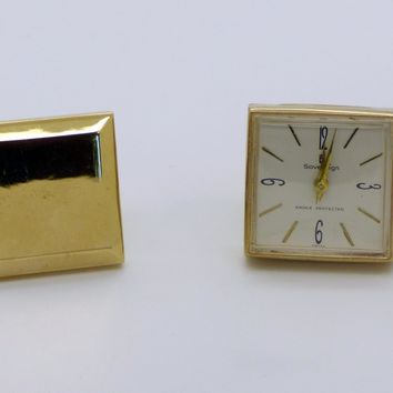 Vintage Sovereign Swiss Gold Tone Wind Up Watch Cuff Links
