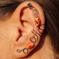 Tiger Lily Ear Cuff Non Pierced Wood Beads - Antique Brass color wire