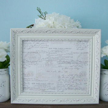 Magnetic Board, Framed Magnet Board, Written Letter Fabric, White Rustic Frame, Distressed, Vintage, Wall Decor, Bulletin Board, Memo Board