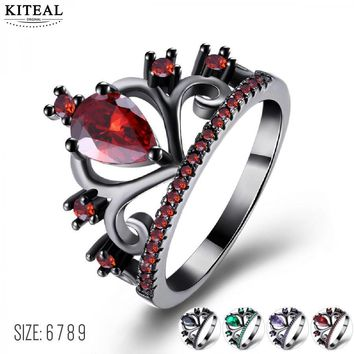 KITEAL 2018 Fashion Red Purple Green Black King Queen Multi Color Crown Princess Rings for Women anillo zircon verde hombre