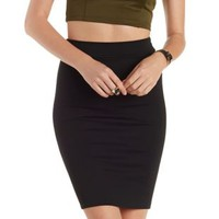 Black Bodycon Pencil Skirt by Charlotte Russe