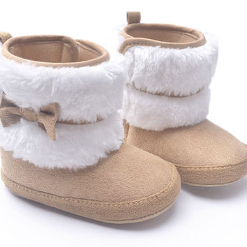 2015 New Fashion Super Warm Winter Baby Ankle Snow Boots Infant Shoes Khaki Antiskid Keep Warm Baby Shoes First Walkers