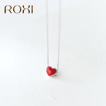 ROXI 925 Sterling Silver Necklace Women Fashion Collier Cute Tiny Red Glaze Heart Pendant Necklace For Women Girls Lady Gifts
