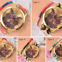 Cat Print Braided Weave Analog Watch