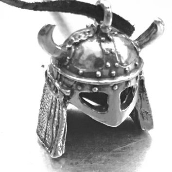 Viking Helmet, Viking Horn Helmet, Viking Necklace, Medieval Jewelry, Medieval Necklace, Helmet Charm, Helmet Pendant, Dark Ages,
