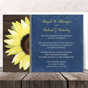 Rustic Sunflower Blue Reception Only Invitations and RSVP - Wood Yellow Floral - Post Wedding Reception - Printed Invitations