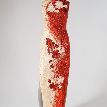 Vintage Chinese Red Sequin Evening Gown - Dragon Lady Hand Sequined Dress