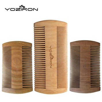 YOZIRON Green Sandalwood Pocket Beard & Hair Combs for Men - 2 Size - Handmade Natural Wood Comb with Fine and Wide Tooth P001