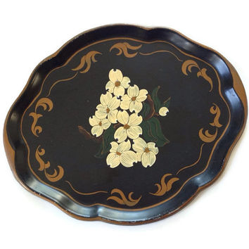 Toleware Tray, Scalloped Edges, Yellow Flowers on Black, Gold Trim, Large, Tole Serving Tray, Cottage Chic