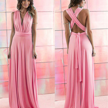 Peach Infinity Maxi Wrap dress  Long Gown Dress Multiway Bridesmaids Convertible Dress