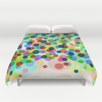Happy Rainbow Confetti Duvet Cover by Miss L In Art