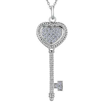 Sterling Silver Rhodium Plated Finish Twisted Cable Heart Key Necklace With CZ - 18 Inch