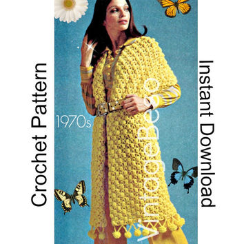 2 Patterns Shawl CROCHET Pattern 70s Vintage Puff Ball Shawl and easy 60s Vintage Monkey Pillow CROCHET Pattern Free Gift Vintage Beso PDF