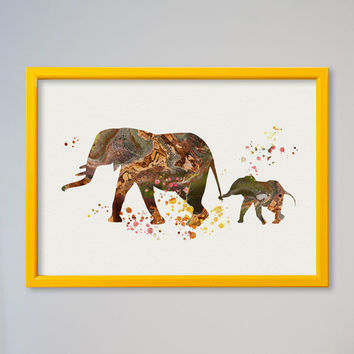 Elephant Family FRAMED Watercolor Poster Print Nursery Art Print Home Decor Wall Decor Animal Art Poster Mom and Baby Elephant Poster