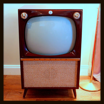 Rare MID CENTURY Modern 50s Atomic TV Set 1956 Emerson Wood Furniture Console Television Mahogany Finish Retro Style 1950's Living Room Tv