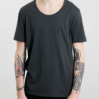 Washed Black Classic Scoop Neck T-Shirt - Topman